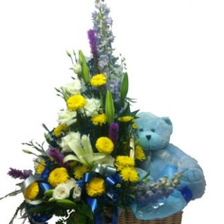 new baby boy gift flower arrangement