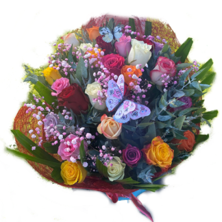 bouquet mixed colour roses