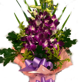 boxed orchid flower arrangement