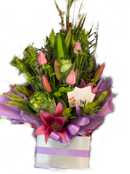 boxed pink roses lilies