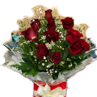 box flower red roses