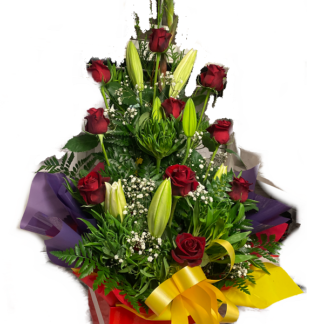 box red roses lilies flower arrangement