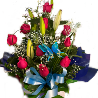 box red roses lilies butterfly