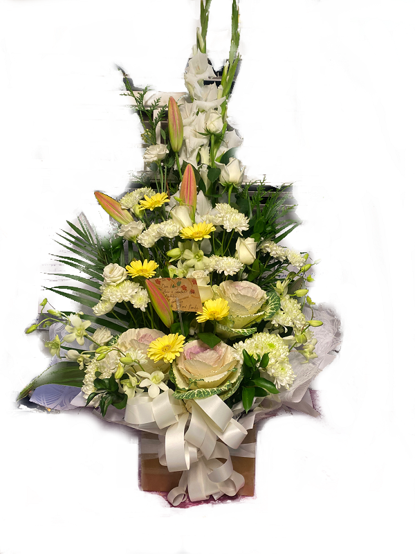 boxed white roses lilies chrysanthemums