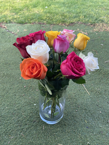 mixed colour roses flower subscription