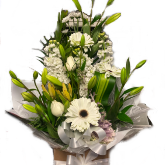 boxed white roses gerbera chrysanthemum medium